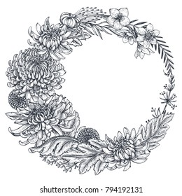 Vector wreath with black and white hand drawn chrysanthemum flowers in sketch style. Beautiful floral background. Frame for greeting card, wedding invitation.