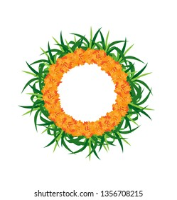 Vector wreath of cane and calendula on a transparent background