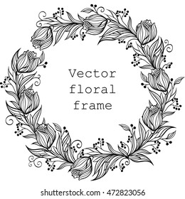 Vector Wreath. Floral frame. Round border with flowers and leaves. Black and white illustration.