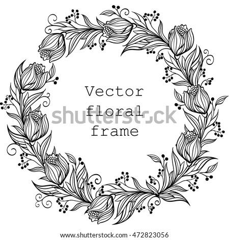 Vector Wreath Floral Frame Round Border Stock Vector (Royalty Free ...