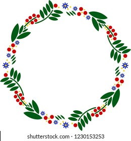 vector wreath of flowers naive style