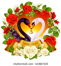 Vector Wreath of Red Roses, Couple Swans, Ribbon and Sunset Background. Black Cob and White Pen hold a Golden Bell. Birds Neck and Flowers in Heart Shape. Valentines Day Card or Wedding Invitation