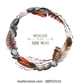 Vector wreath in watercolor style. Stones, pebbles, feathers and branches woven into a wreath. Wreath for greeting cards, invitations, covers, and other items.