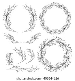 Vector wreaths clip art. Hand drawn design elements for greeting card, wedding invitation, logo, tag, label, package, scrapbook.