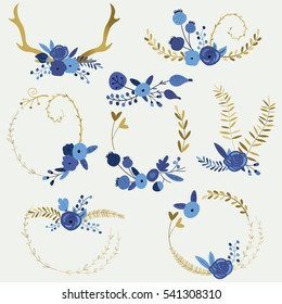 Vector wreaths with cute blue flowers in cartoon style