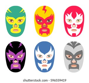 Vector wrestler mask set. Six different wrestler head