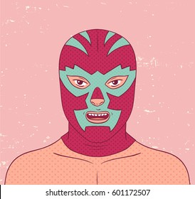 Vector wrestler portrait.