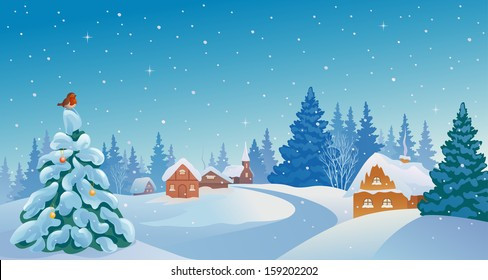 Vector Xmas Card With A Beautiful Snowy Village