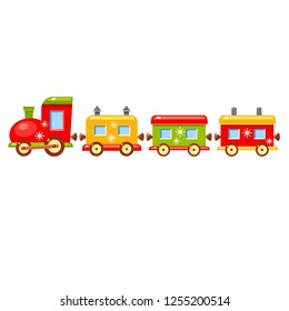 Vector xmas card with bright vector cartoon train on a white background. Toy colorfull christmas wagons. Cute winter illustration.