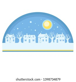 Vector xmas card with cartoon white silhouettes of houses and trees with a ble sky and a moon above. Colorful christmas lanscape. Cute winter illustration. Cold frost night