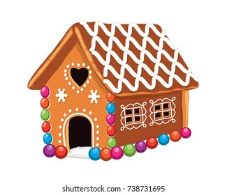 vector xmas colorful gingerbread house with sugar icing decoration. christmas holiday food background. sweet ginger bread dessert. eps10 illustration