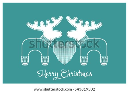 22b33a53c2a5cc Vector xmas cute greeting card with adorable reindeer and elk in knitted  sweaters. Xmas card with a wish a Merry Christmas. - Vector