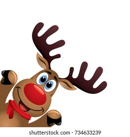 vector xmas drawing of funny red nosed reindeer. christmas card illustration. cartoon rudolph deer with red scarf and big horns on white background, blank copy space