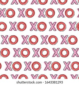 Vector xo xo seamless pattern background. Abstract pink and red font design for t-shirt, valentine's day card, invitation, poster, romantic album, scrapbook.
