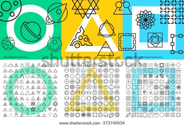 Vector XXL set of abstract geometric linear icons for UX/UI tools, mobile prototypes and web app