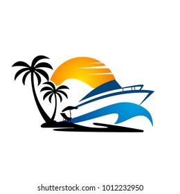 Vector Yacht Club Logo Design Template