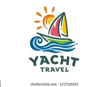 Vector yacht logo template. Illustration of a yacht trip.