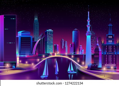 Vector yacht regatta under a bridge of modern megapolis. Race, competition on water at night. Bright boats, purple glowing buildings on the background. Urban skyscrapers in neon colors, town exterior.