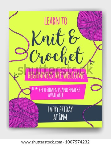 Vector yarn balls  with long thread and knot mock up for knit and crochet classes poster or advertisement. Hand drawn illustration for brochure, poster or cover design. Made using clipping mask