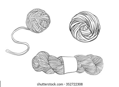 Vector yarn balls set.