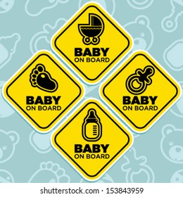 Vector yellow baby on board signs isolated on seamless pattern background