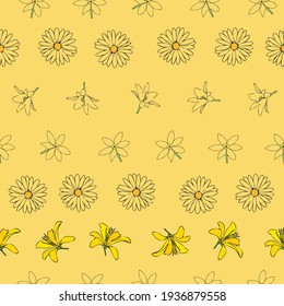 Vector yellow background white yellow lemony floral seamless pattern. Daisies, Lilies, Crocus. Seamless pattern background