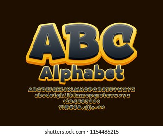 Vector Yellow and Black Alphabet. Bright 3D Font