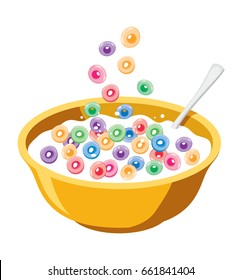 vector yellow bowl with cereals in milk isolated on white background. breakfast illustration of falling colorful fruit cereal loops. healthy food for kids