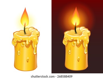 Vector yellow candele burning