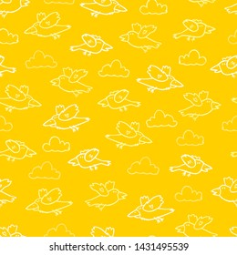 Vector yellow cartoon birds repeat pattern. Suitable for gift wrap, textile and wallpaper.