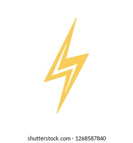 Vector yellow cartoon lightning bolt, electricity, speed, or voltage icon