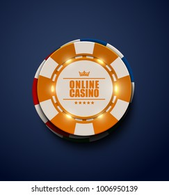 Vector yellow casino poker chips with luminous light elements, top view. Dark blue background. Online casino, blackjack poster, eps 10 illustration