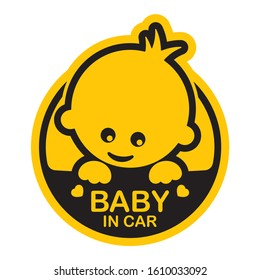 Vector yellow circle sign with baby and text - Baby in car. Isolated white background.