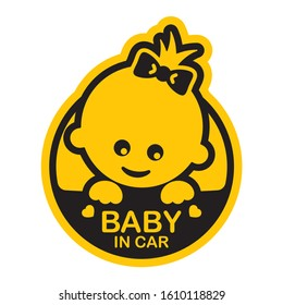 Vector yellow circle sign with baby girl and text - Baby in car. Isolated white background.