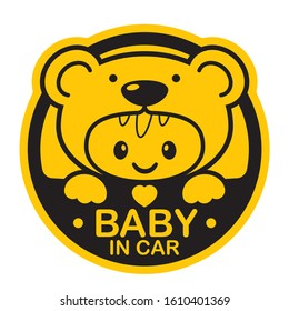 Vector yellow circle sign with baby in teddy bear costume and text - Baby in car. Isolated white background.