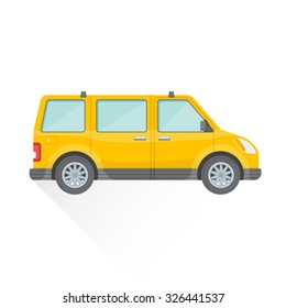 vector yellow color flat design passenger minivan body type vehicle illustration isolated white background long shadow