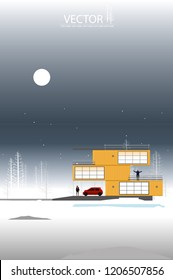 vector yellow container box house on winter season background