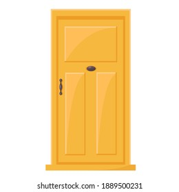 Vector Yellow Entrance Door in Cartoon Style. Illustration of an Exterior Door Element for Web, Graphics and Design. Classic Front Door Object for Buildings and Architecture Isolated on white background.