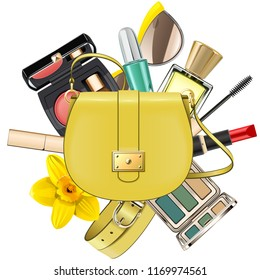 Vector Yellow Fashion Accessories Concept isolated on white background