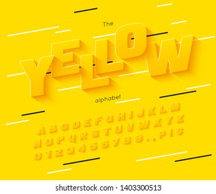 Vector yellow  font and alphabet. Summer letters and numbers