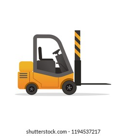 Vector yellow forklift truck on white background. Isolated electric uploader of flat cartoon style