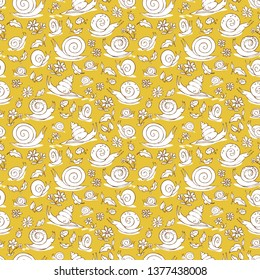 Vector yellow hand drawn snails and flowers repeat pattern texture. Suitable for gift wrap, textile and wallpaper. Surface pattern design.