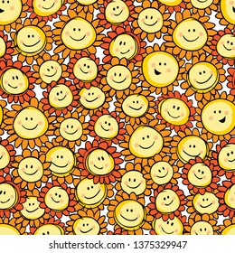 Vector yellow hand drawn sunflower cartoon repeat pattern. Suitable for gift wrap, textile and wallpaper. Surface pattern design.