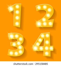 Vector yellow lamp alphabet for theatre, cinema and other entertainment. Numbers 1 2 3 4