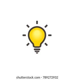 Vector Yellow Light Bulb Logo.