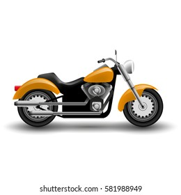 Vector yellow motorcycle. Illustration of cartoon chopper motorcycle