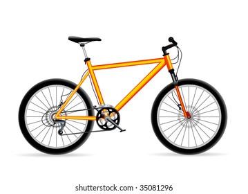 vector yellow mountain bicycle