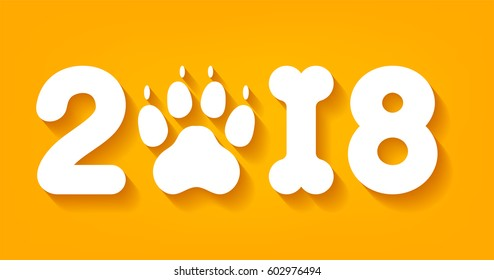 Vector yellow numbers 2018 with zero as dog paw print and one in bone shape next new year template illustration