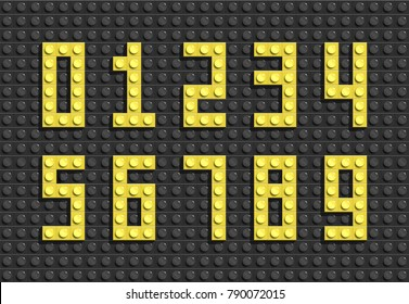 Vector yellow numbers from plastic building lego bricks. Colorful lego numbers .Black lego background