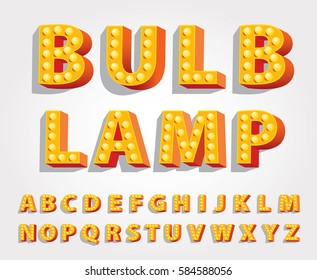 vector yellow orange entertainment and casino letters with bulb lamps